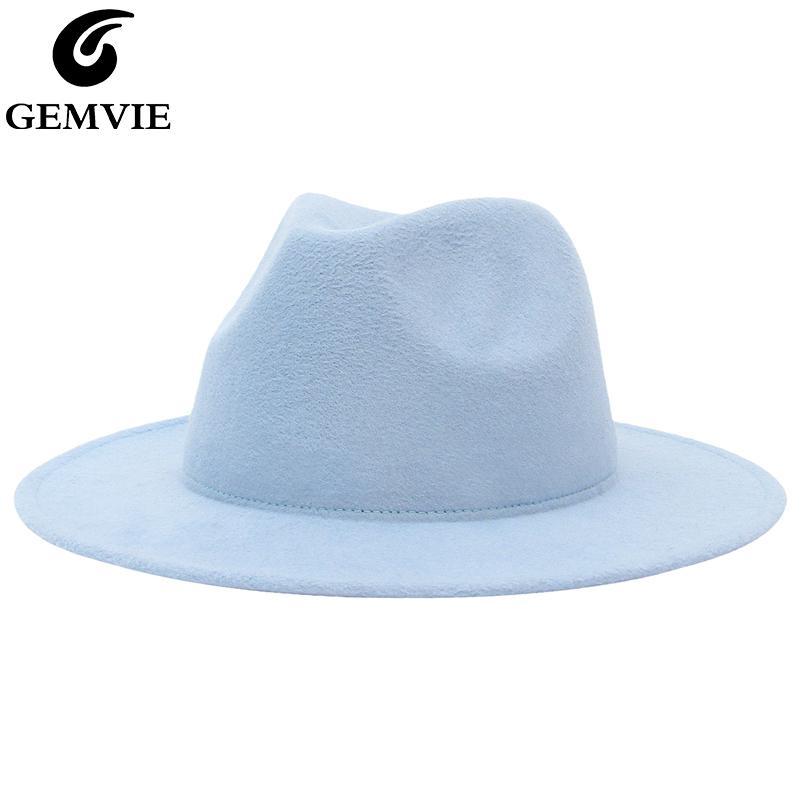 GEMVIE New Wide Brim Solid Color Fedora Hat For Women Wool Felt Hat For Men Autumn Winter Panama Gamble Jazz Cap C0123