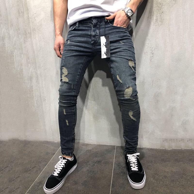 رجل سستة ثقوب مصمم جينز أسود ممزق سليم صالح تمثل سروال رصاص حجم 28-40