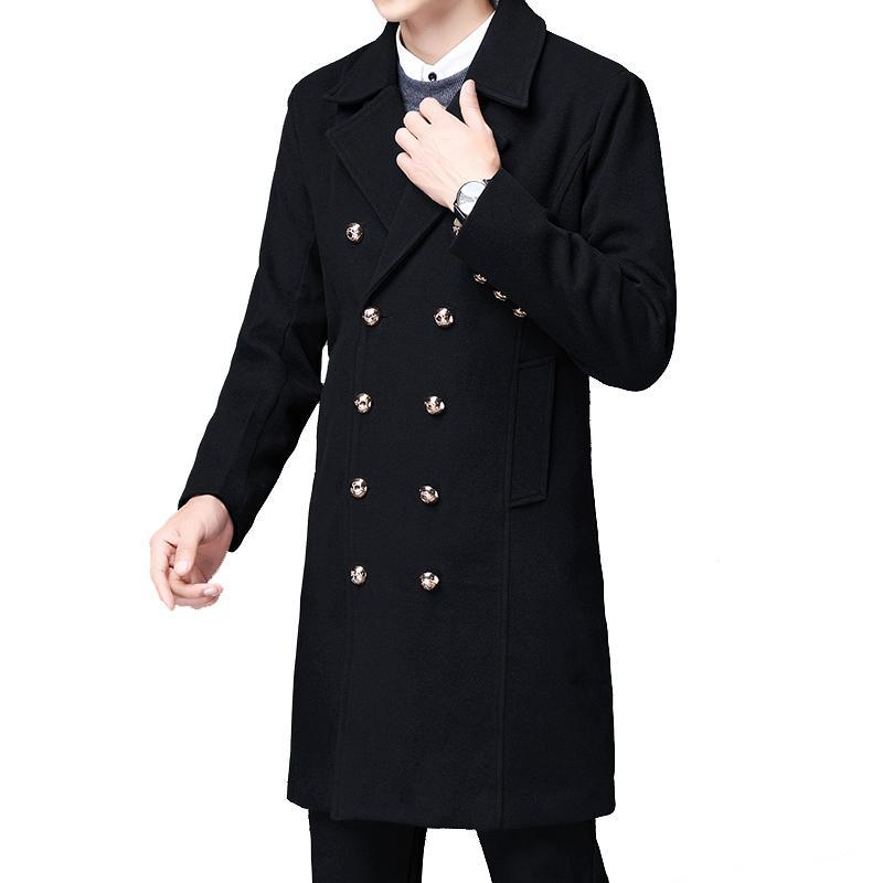 Long woolen Trench coat men fashion double breasted woolen clothing for autumn winter East Europe Windbreaker Man