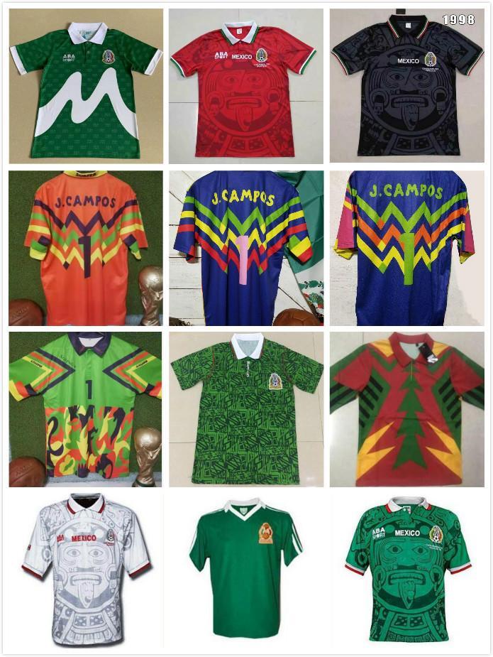 Mexiko 1998 Retro Blanco Hernandez Blanco Campos Soccer Jerseys Uniformen Heimtorhüter 1994 Fußball-Trikots-Hemd Camiseta Futbol 1986