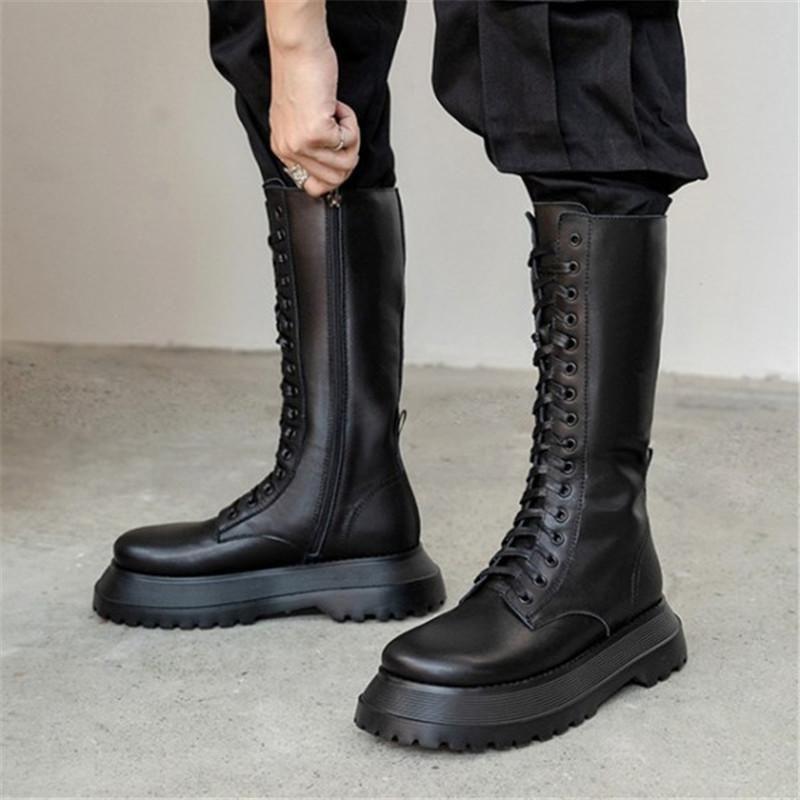 Ботинки Pxelena дизайнерские женские платформы боевые боевые середины теленка натуральная кожа толстые подошвы на мотоцикле 2021 обувь 40