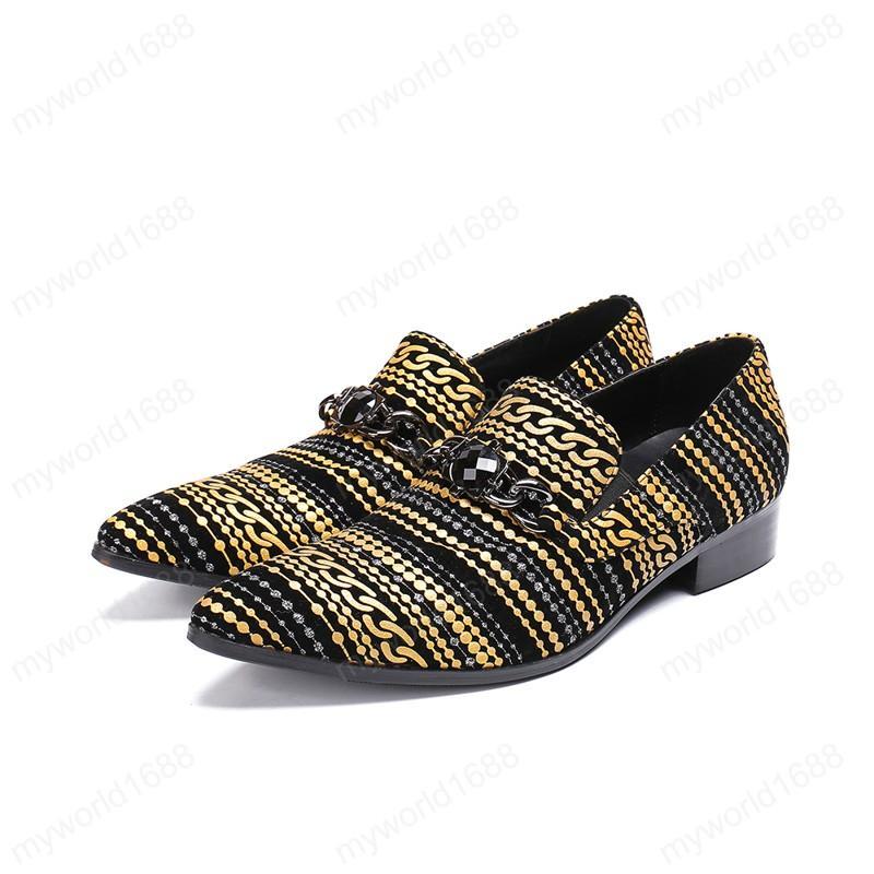 Stripe Printing замша мужчины Управление Обувь Большого размер Мода цепь Мужская обувь Скольжение на формальных платьях партии обуви