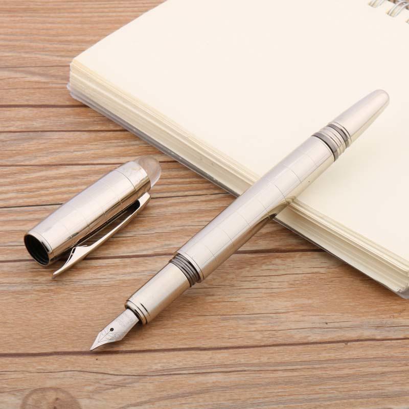 Yeni Yazma Metal Ofis Paslanmaz Çelik Gümüş Denetleyicisi Desen Kristal Üst Klasik Dolma Kalem