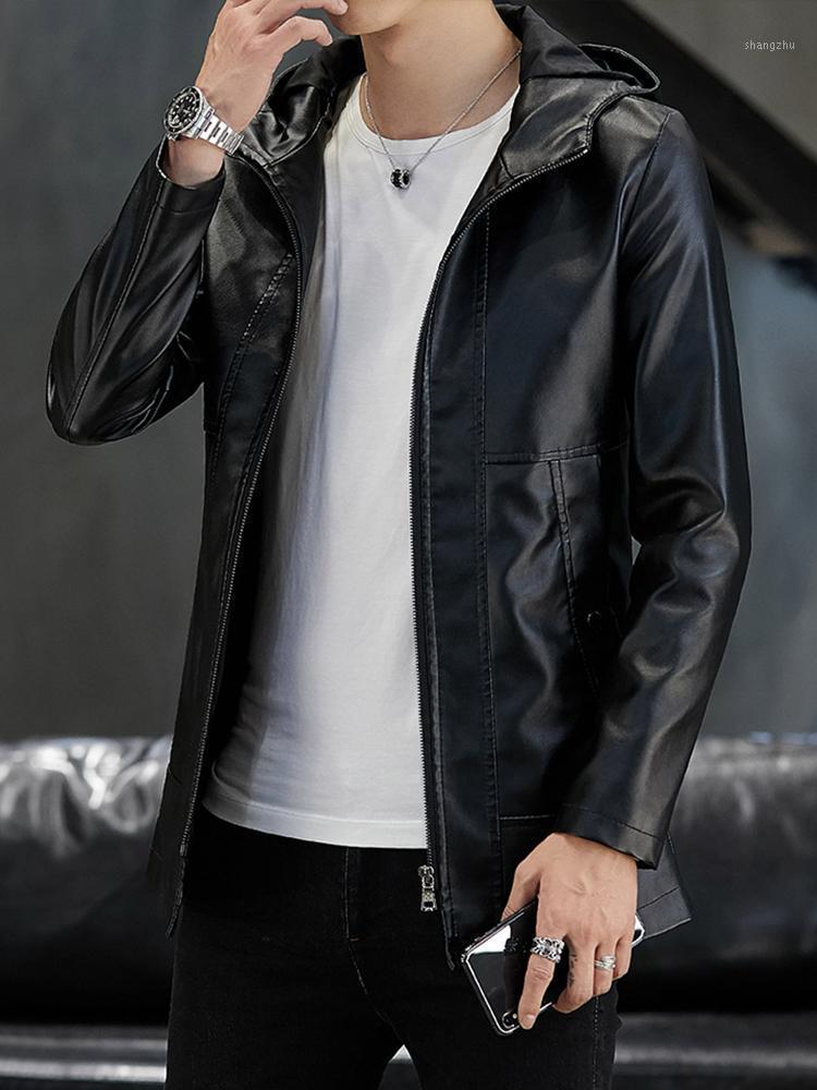 NOUVEAU Hommes Black Faux Cuir Coating à capuchon Couche occasionnel Coatines Taille 4XL T1921
