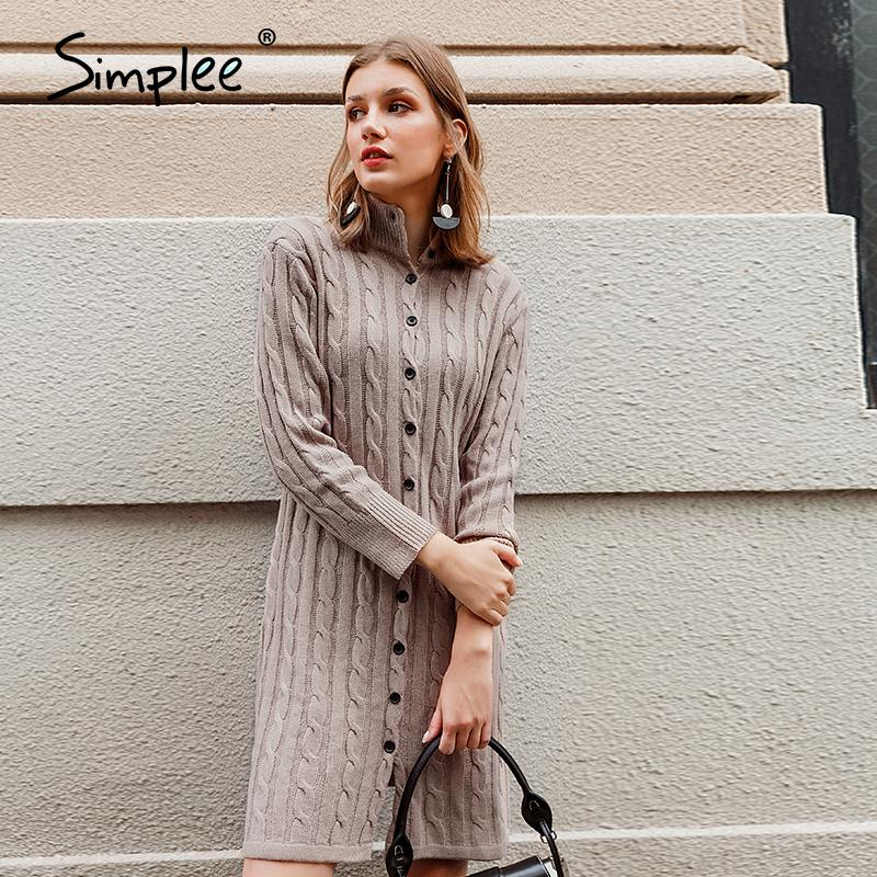 Simplee femmes col stand Casual robe tricot hiver automne robe longue bouton manches robe pull femme haut street style 201102