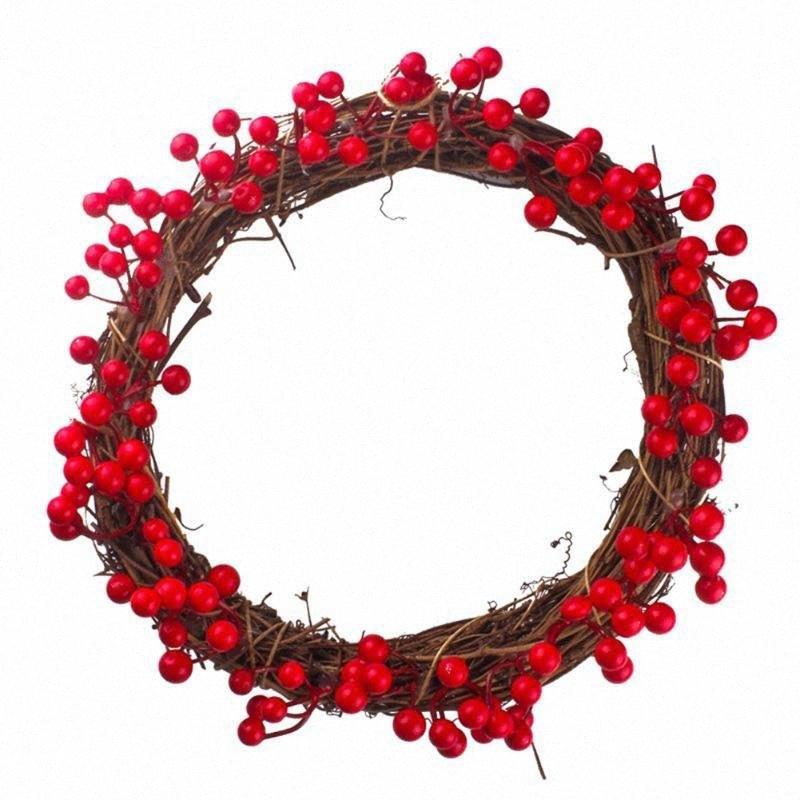 Tappezzeria per porta di simulazione frutta a bacca rossa Corona di natale ciondolo appeso decorazioni di ringraziamento di Halloween di Natale 82im #