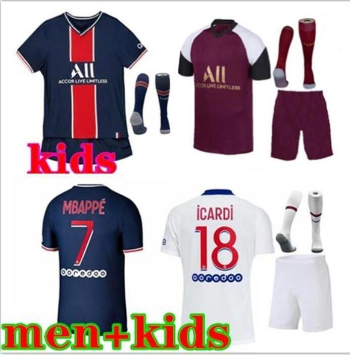 2021/22 homens + kit kit kit mbappe icardi futebol jerseys 20 21 kit de futebol vertatti di maria draxler maillot de pé menino sobrevetimento kit kit kit