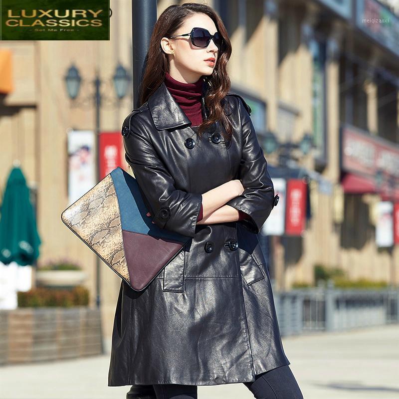 Женское пальто натуральные овчины роскошные реальные кожаные оковы натуральные кожаные женские женские весенние длинные пальто LWL14281