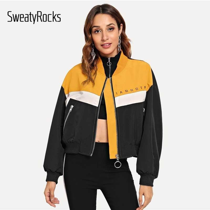 Sweayrocks Zip Up Lettera Stampa Giacca a maniche lunghe Stand Collare Colorblock Donne Crop Top 2018 Autunno Style Casual Giacche Y200101