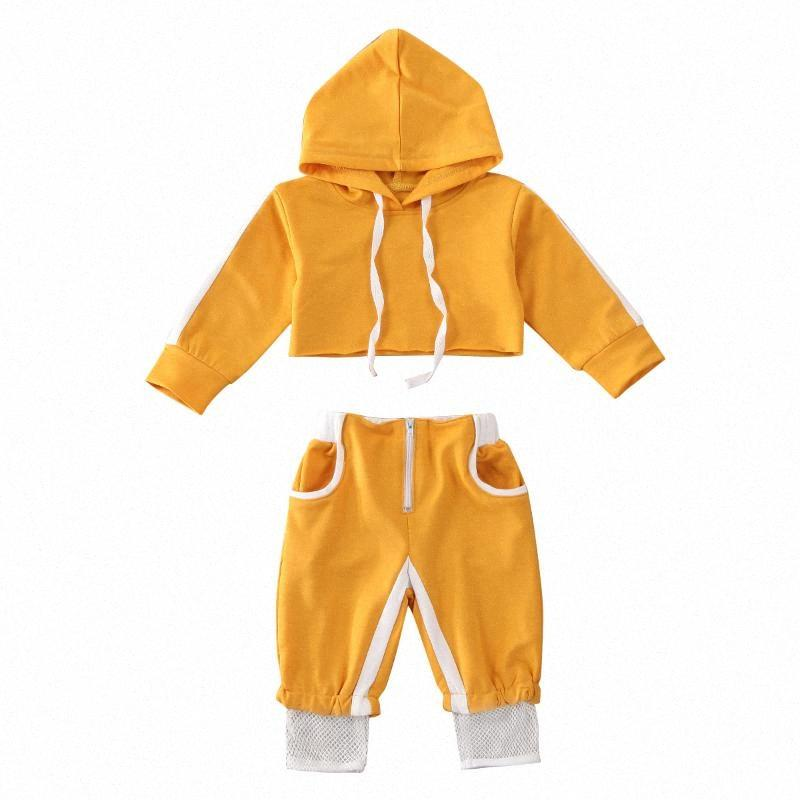 0-24M Toddler Infant Clothes Baby Girls Sport Clothes Sets Solid Long Sleeve Pullover Hood Crop Tops Pants Tracksuit Outfit akSf#