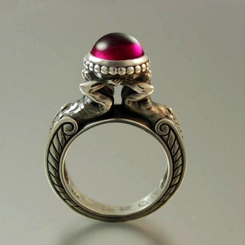 Горячие продажи Нового Mermaid рубинового кольцо Творческого Посеребренная Vintage кольцо