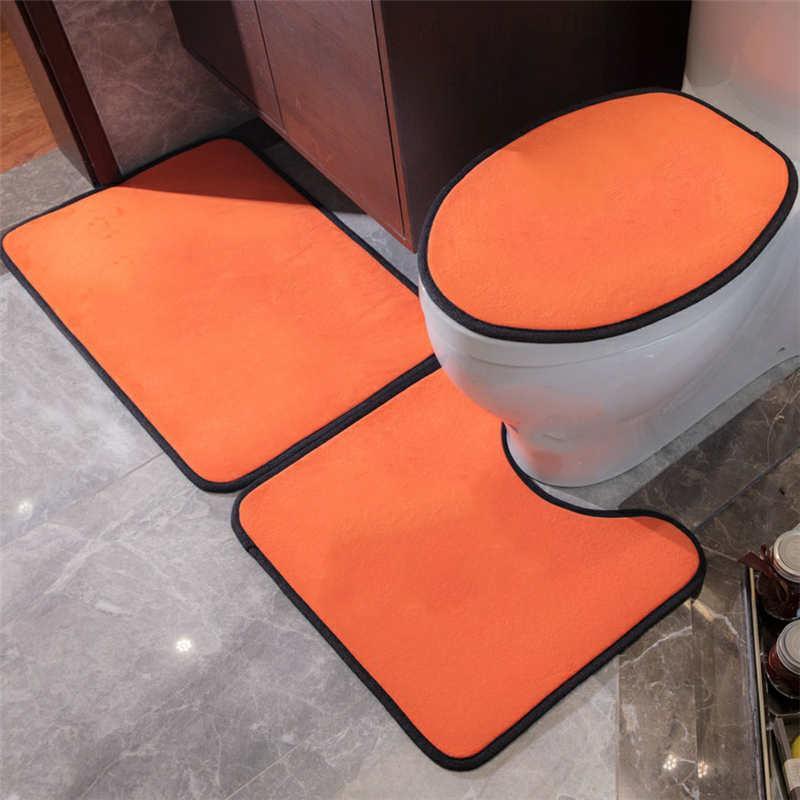 욕실 인쇄 카펫 시트 커버 홈 화장실 스타일 매트 3PCS가 아닌 미끄럼 클래식 도어 랏 침묵 4 화장실 Qksxc