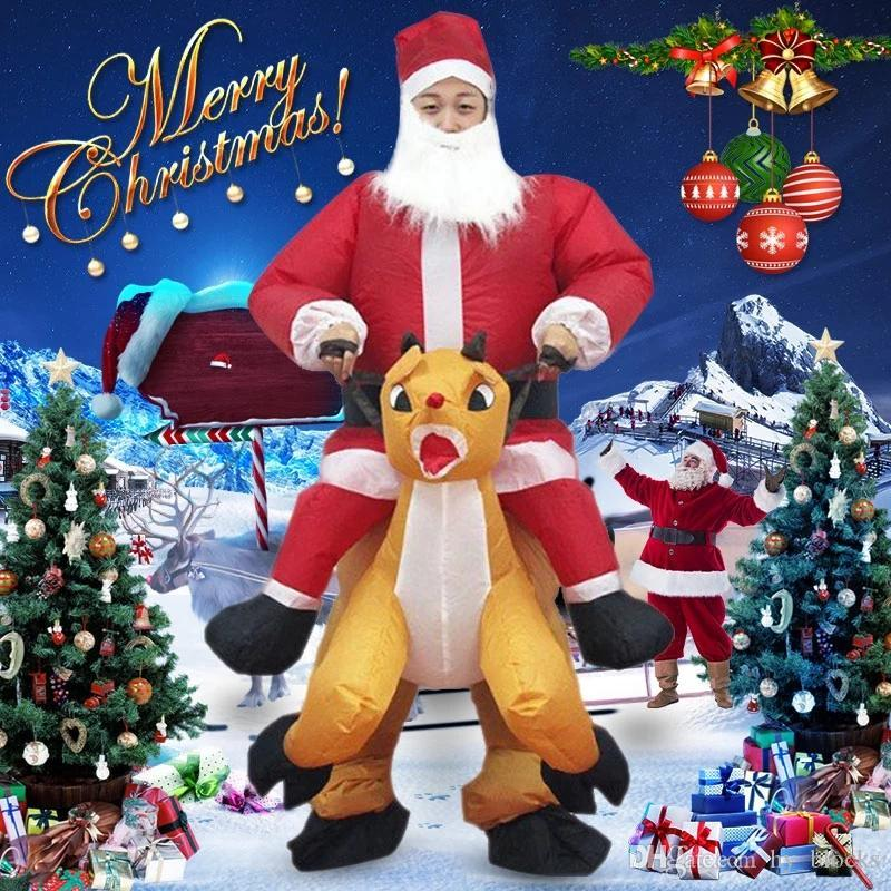 Weihnachten Weihnachtsmann Elk aufblasbare Kleidung Dekoration Puppen Kostüm-Abendrollenspiele Halloween-Party-Aktiv Atmosphäre Decor