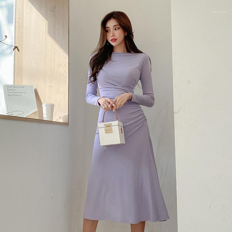 Office Lady Dress Donne Donne Sexy senza spalline a maniche lunghe Abito lungo stile coreano Slim Slim Mid-Calf 2020 Autunno New1