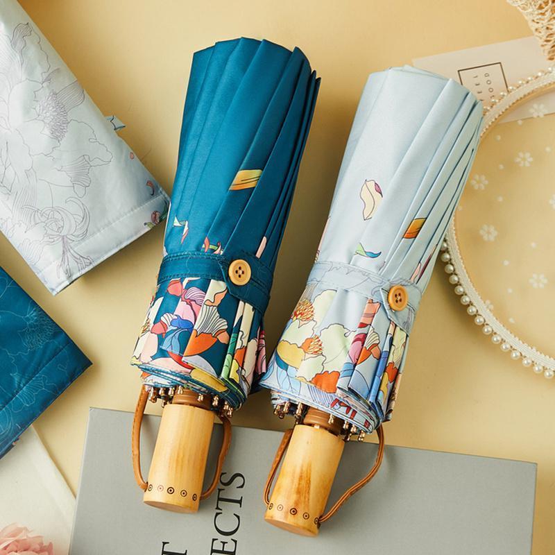 Japnese estilo flores guarda-chuva chuva mulheres anti uv sol guarda-chuva de madeira punho três guarda-chuvas dobráveis prata co