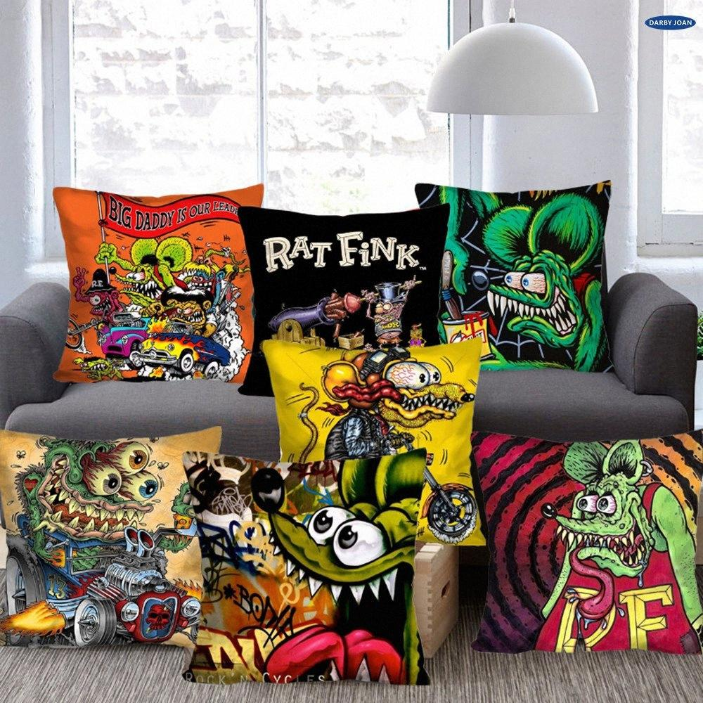 Coussin Taie RAT FINK CANNON Throw LOOSE taie Coussin 14 16 18 2024 Couverture Zippered Taie d'oreiller Cas européen Fleec kYUT n