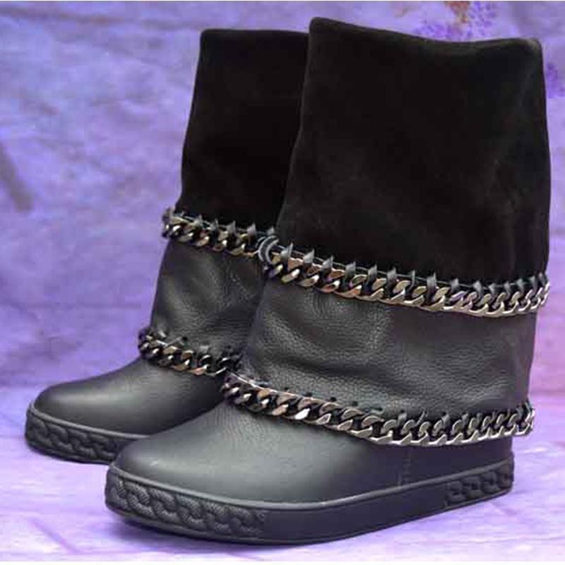 Bottes Femme Botas de tobillo de invierno para mujer Cuero negro Cadena de metal Botas altura Aumento de la plataforma Botas de vaquero Zapatos para mujer