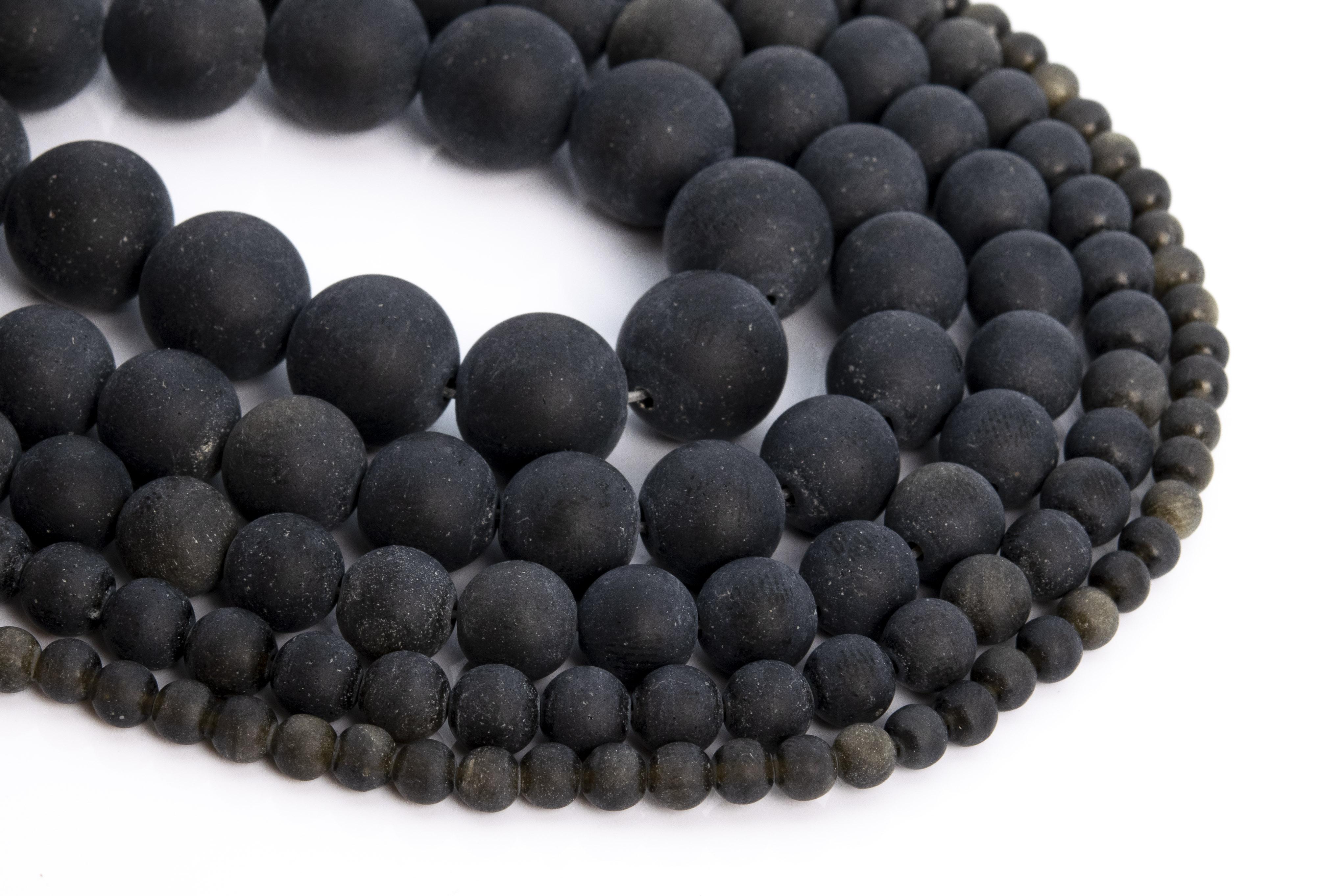 Черный матовый Золотой обсидиан Gemstone свободные шарики круглой формы 4 мм 6 мм 8 мм 10 мм 12 мм для изготовления ювелирных изделий