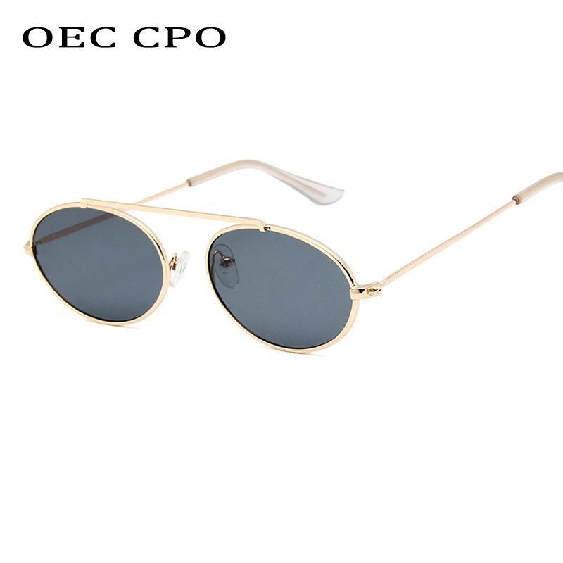 OEC CPO Fashion Men Oval Sunglasses Women Vintage Style Round Metal Frame Transparent Lens Sun Glasses UV400 Glasses Gafas O163
