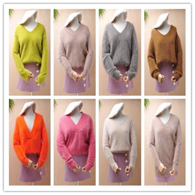 señoras de las mujeres de la moda de visón peluda mullida de punto de cachemir con cuello en V de manga larga jersey de angora suelta de piel de conejo suéter puente de invierno