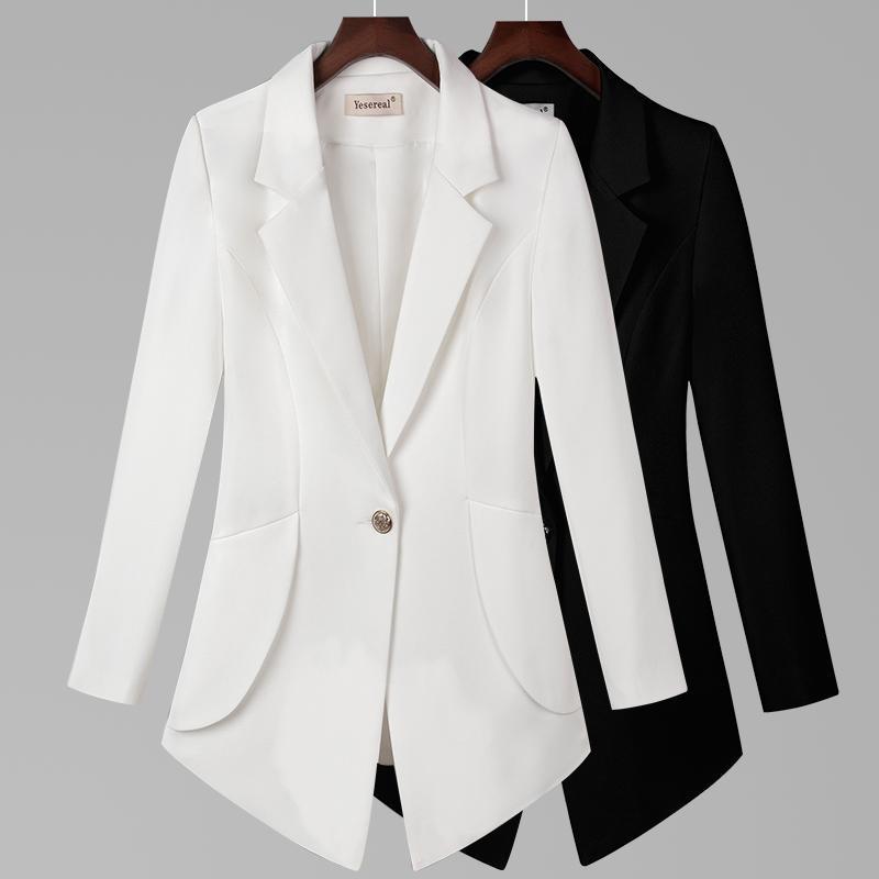 Plus Size 6XL 7XL 2020 Blazer manches longues Blazers One Button Slim Bureau Lady Vestes Hauts pour femmes Costume Blazer Femme R670
