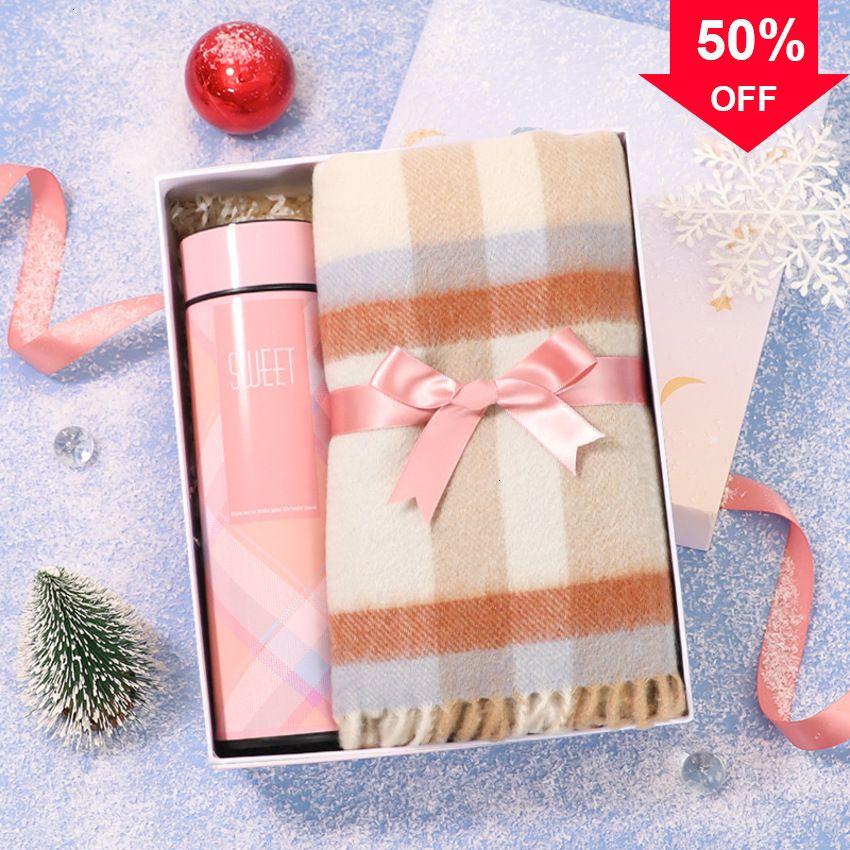 Шарф женский зимний универсал 2020 три куска нагрудник набор перчатки Кубок новогодняя подарочная коробка SJIU