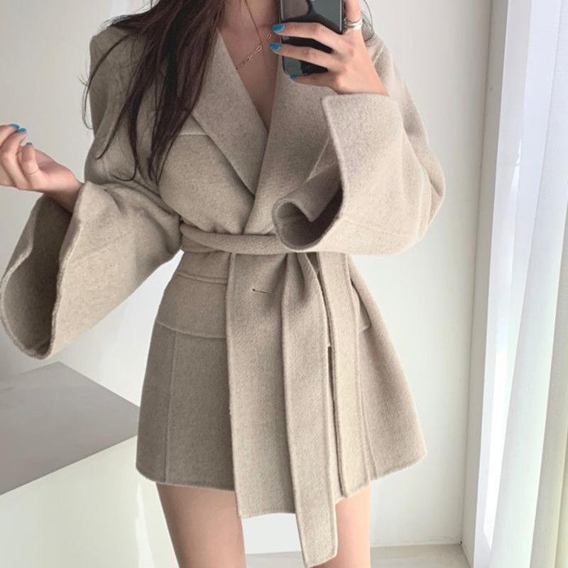 [EWQ] 2020 neue Herbst-Französisch-Revers Gerade Abnehmen Lace-up Taille Cardigan Langarm Wollmantel für Frauen lose beiläufige SuitX1020