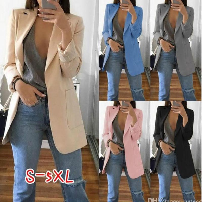 Autumn Women Casual Slim Blazers Suit Jacket Fashion Lady Office Suit Black with Pockets Business Notched Blazer Coat