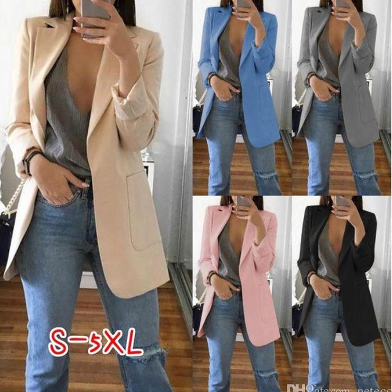 Sonbahar Kadınlar Casual Ince Blazers Takım Elbise Ceket Moda Lady Ofis Suit Siyah Cepler Ile Business Çentikli Blazer Coat