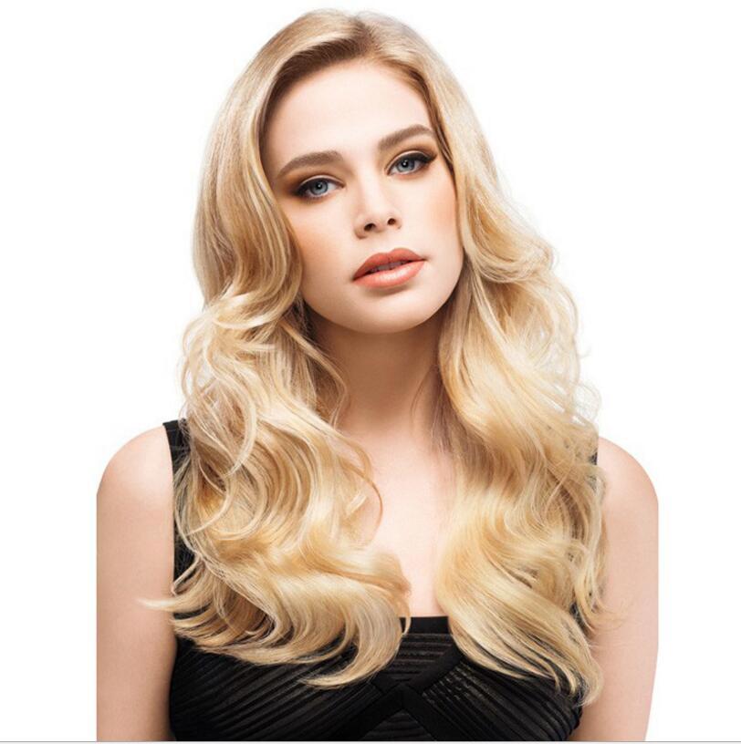 Free Shipping good air permeability Women's hair long curly hair big wave golden yellow hair headgear