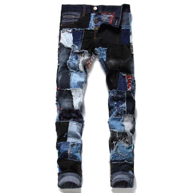 2С европейской и американской внешней торговли Стиль Тонкий с тенденции моды персонализированных Мужская мода Модные мужские джинсы