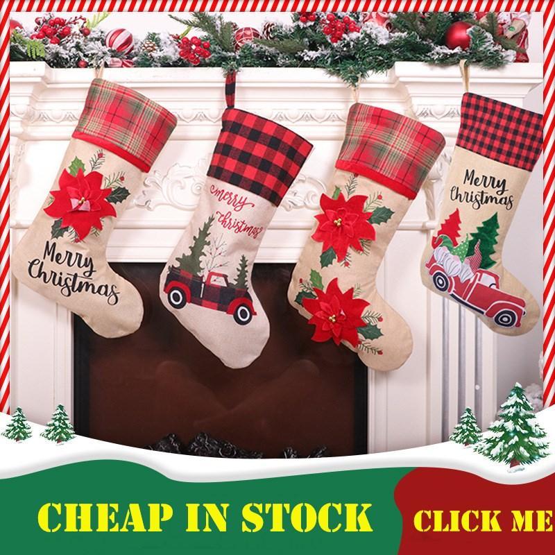 2020 Noel çorap Dekor Noel Ağaçları Süsleme Parti Süsleri Santa Noel Çorap Şeker Çorap Çanta Noel hediyeleri Çanta