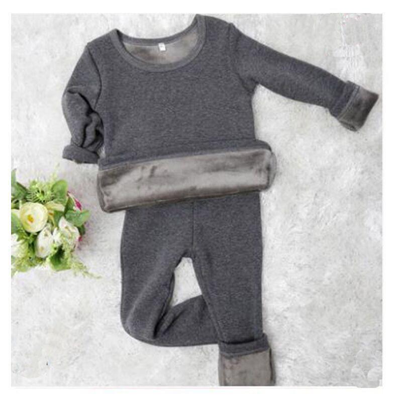 2pcs/set Mirco Velvet Children Boys Pajamas Thermal Underwear Girl Sleepwear Long Johns Nightwear Tops Pant Night Clothes Clothi 201029