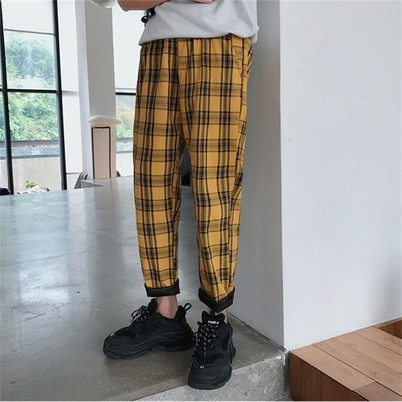 Streetwear xadrez Casual Harem Calças Harem Hip Hop Plus Size Calças Homens / Mulheres Y200418