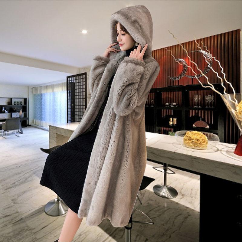 Tamanho Grande M-5XL Inverno New casaco de vison das Mulheres sobre o joelho de veludo Waterproof Coats Feminino Médio Longo Grosso Padgyk Fur
