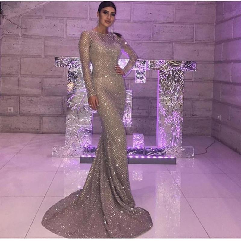 Серебряный золотой плед o шеи вечеринка Maxi платья bodycon блеск пустостойки полные рукава длина элегантного ночного клуба платье y200109