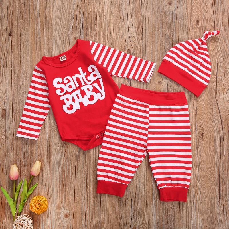 Zestawy Odzieżowe Niemowlę Baby Boy Girl Xmas Stroje List Drukowane Z Długim Rękawem Body Topy + Paski Spodnie Spodnie Hat 3 PCS Jesień