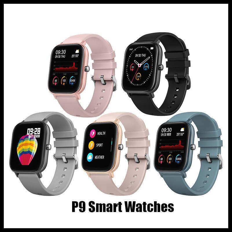 Розничная P9 Смарт часы Водонепроницаемые Фитнес Tracker Спорт Для IOS Android телефона Функции давления SmartWatch Монитор сердечного ритма крови