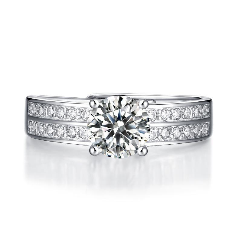 Lujo 100% 925 Sterling Silver 1CT Moissanite Anillo Anillo de boda Anillos de joyería de diamantes para mujeres hombres al por mayor Regalos