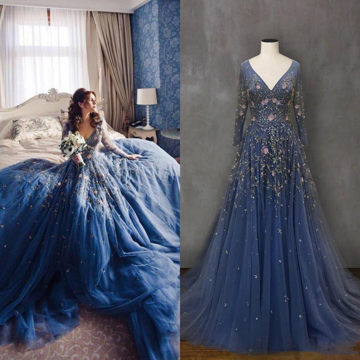 Fancy с длинным рукавом платья выпускного вечера 2021 V шеи Кружева аппликация Boho Свадебные платья Вечерние платья одежды де вечер