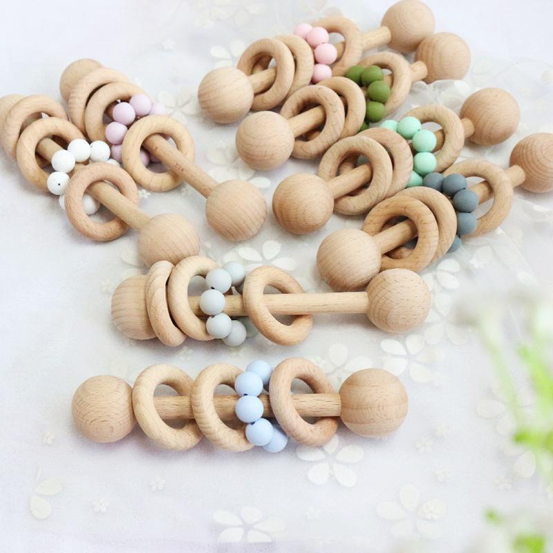 Ins Bebek Dişçileri Diş Çıkarma Doğal Ahşap Yüzük Dişlikleri Bebek Parmaklar Egzersiz Oyuncaklar Silikon Boncuklu Yemeği Bebek Oyuncak M3066