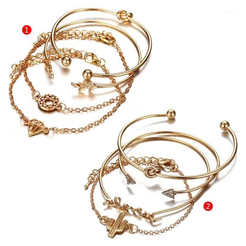 4 pezzi / set Golden Bracelet Bracciale vintage Bracciale da donna gioielli moda matrimonio1