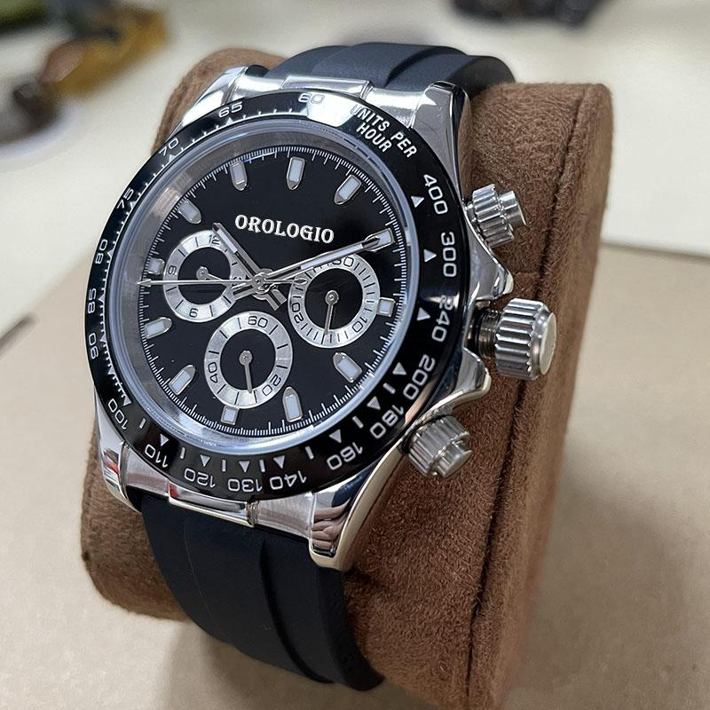 2021 Montre de Luxe U1 공장 품질 쿼츠 시계 망 시계 화려한 시계 고무 스트랩 스포츠 VK 크로노 그래프 방수 손목 시계