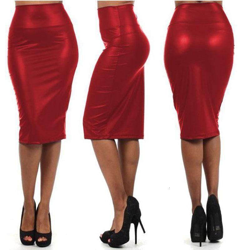 Черный красный Wetlook виниловые кожаные женщины юбка карандаш клуб ночной клуб высокая талия Bodycon юбка лето сексуальный простой стиль латексная юбка
