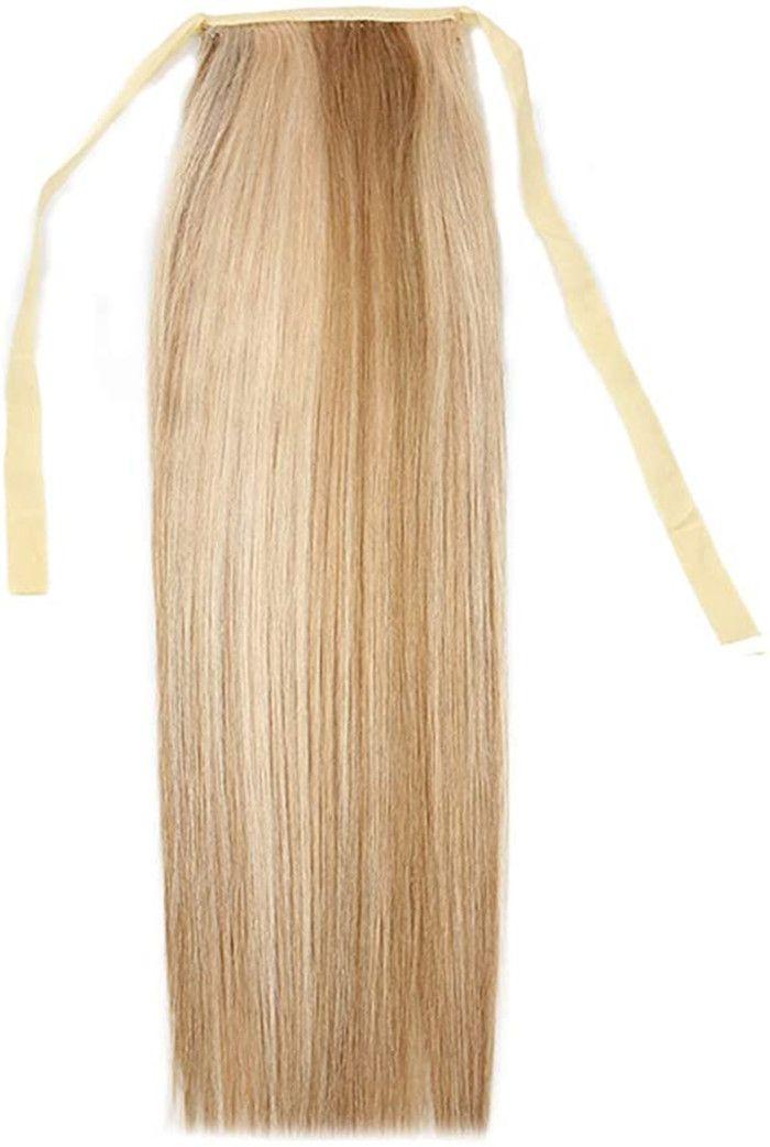 Dos tonos de la cinta de extensión Cola de caballo Extensiones de cabello humano Cola de caballo de pelo rubio liso mezclado con cordón Clip colas de pony postizo 120g p18 / 613