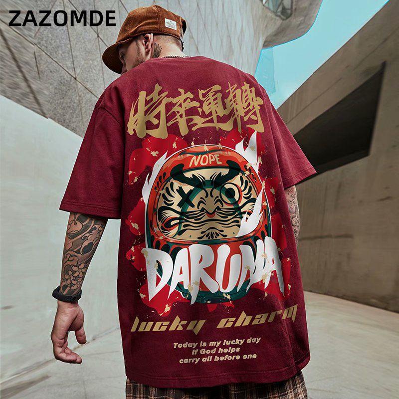 T-shirts 2020 style chinois chanceux imprimé à manches courtes T-shirts d'été Hip Hop Coton Casual Hauts T-shirts