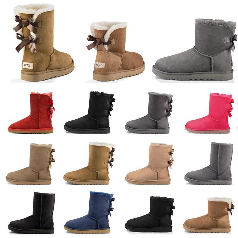 Neue Art und Weise Frauen Stiefel Chestnut High Low Schwarz Grau Marineblau Rosa klassischer Knöchel kurze Stiefel Damen Stiefel Schnee Winter Größe 5-10
