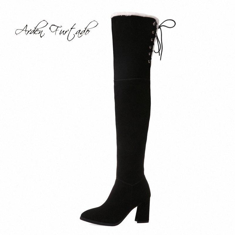 Sapatos Arden Furtado Forma Mulheres de Inverno Toe Pointed Chunky Heels Zipper elegante Sexy Ladies Botas Over The Knee High Carregadores do exército Bota ta1W #