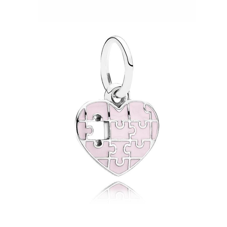 925 Sterling Silver Jigsaw Completa mi corazón Cuelga Charms Beads Colgante con ligero Pink Enamel Fit Pandeora Pulseras para la fabricación de joyas de bricolaje