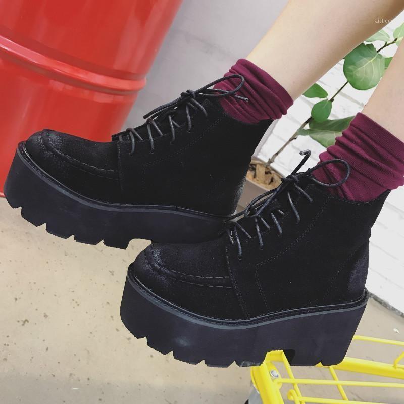 Black Punk Rivets Platform Boots Women Lace Up Tacco Aumento Stivali Donne Faux Suede Goth Y2K Shoes1